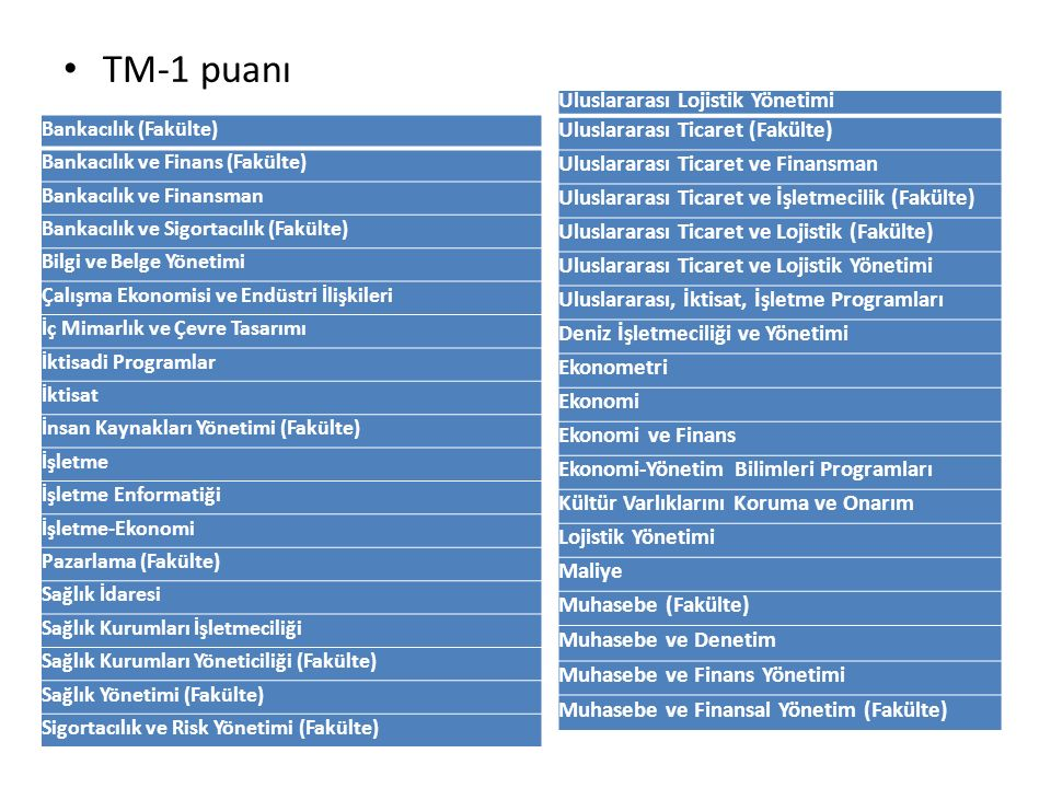 TM-1 puanı Uluslararası Lojistik Yönetimi