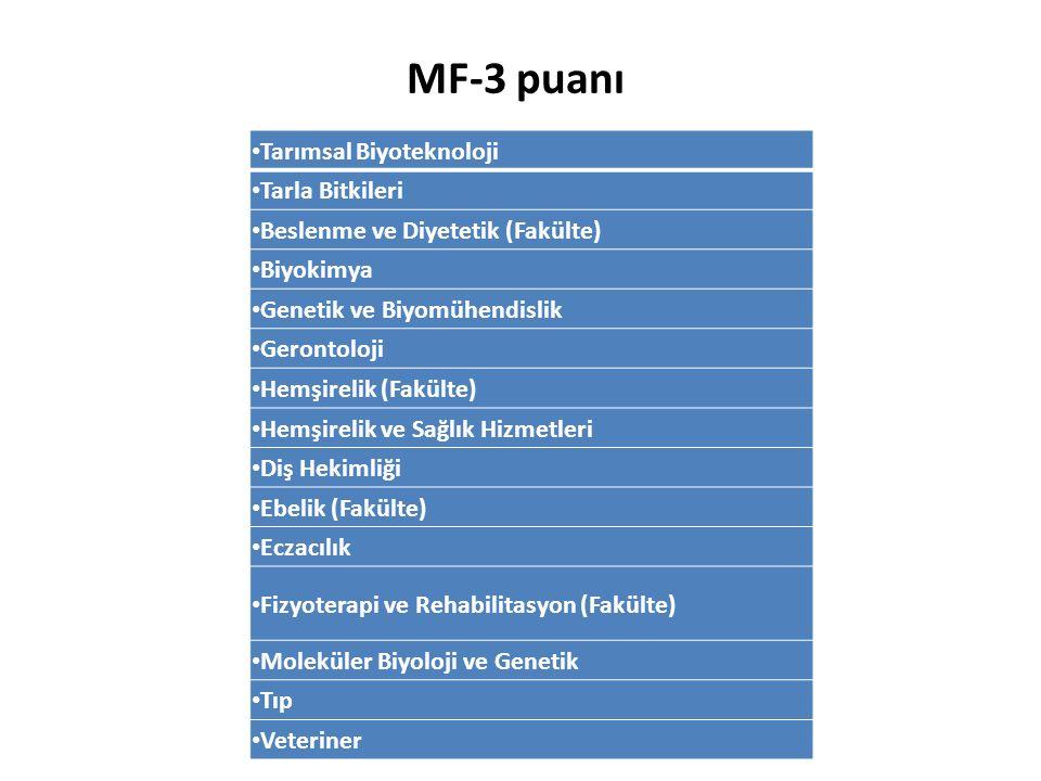 MF-3 puanı Tarımsal Biyoteknoloji Tarla Bitkileri