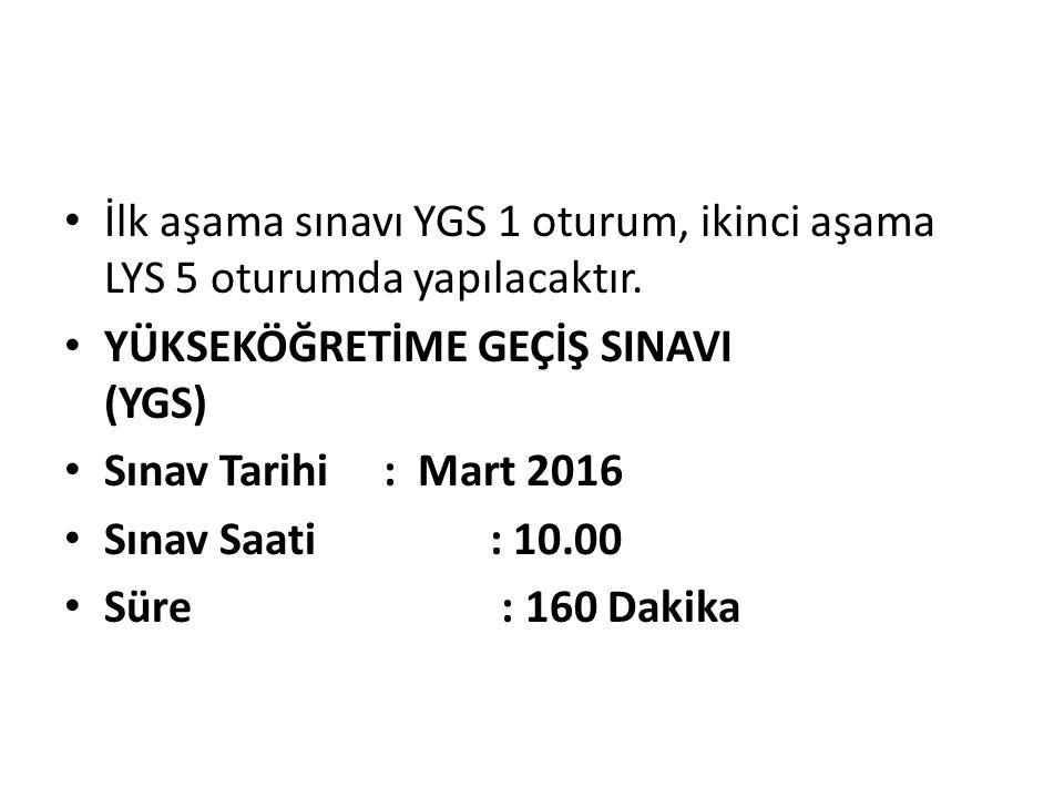İlk aşama sınavı YGS 1 oturum, ikinci aşama LYS 5 oturumda yapılacaktır.