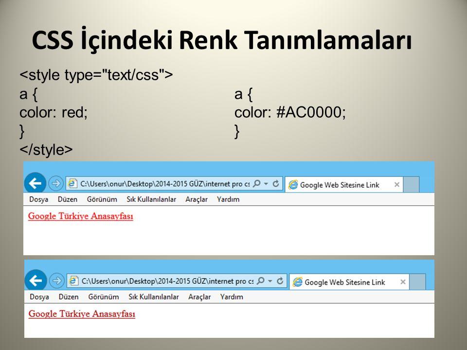 CSS İçindeki Renk Tanımlamaları