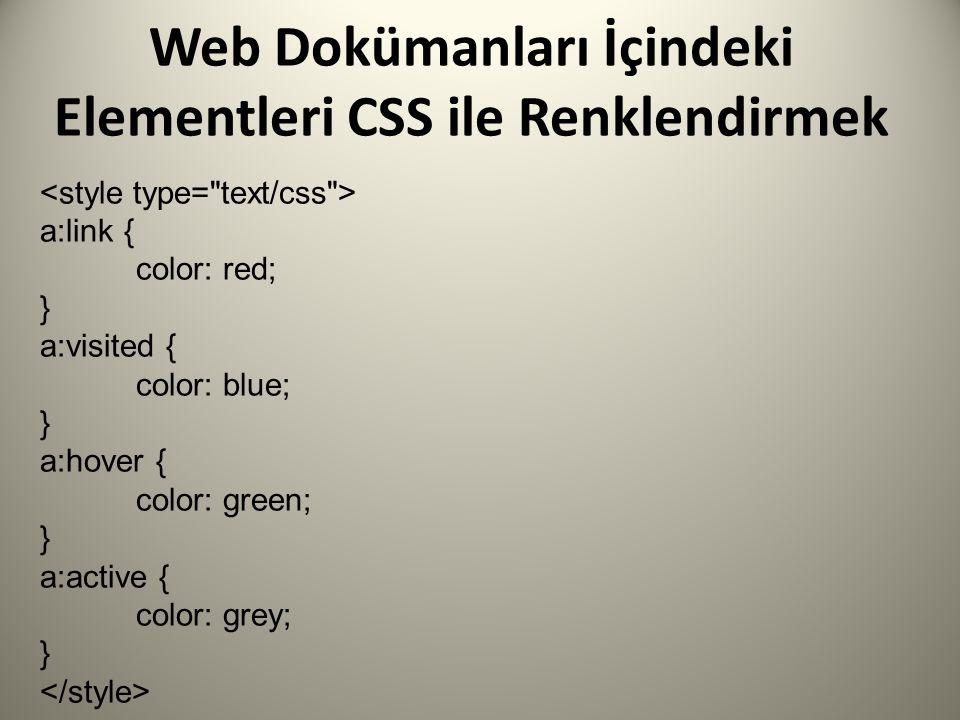 Web Dokümanları İçindeki Elementleri CSS ile Renklendirmek