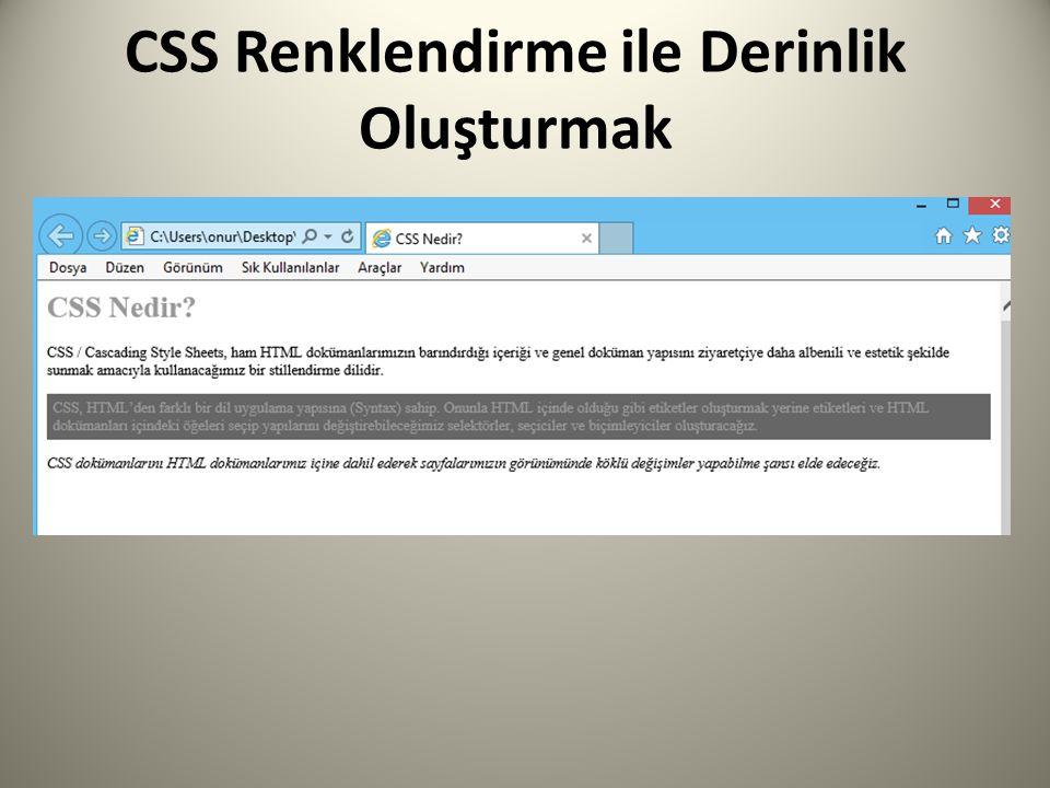 CSS Renklendirme ile Derinlik Oluşturmak