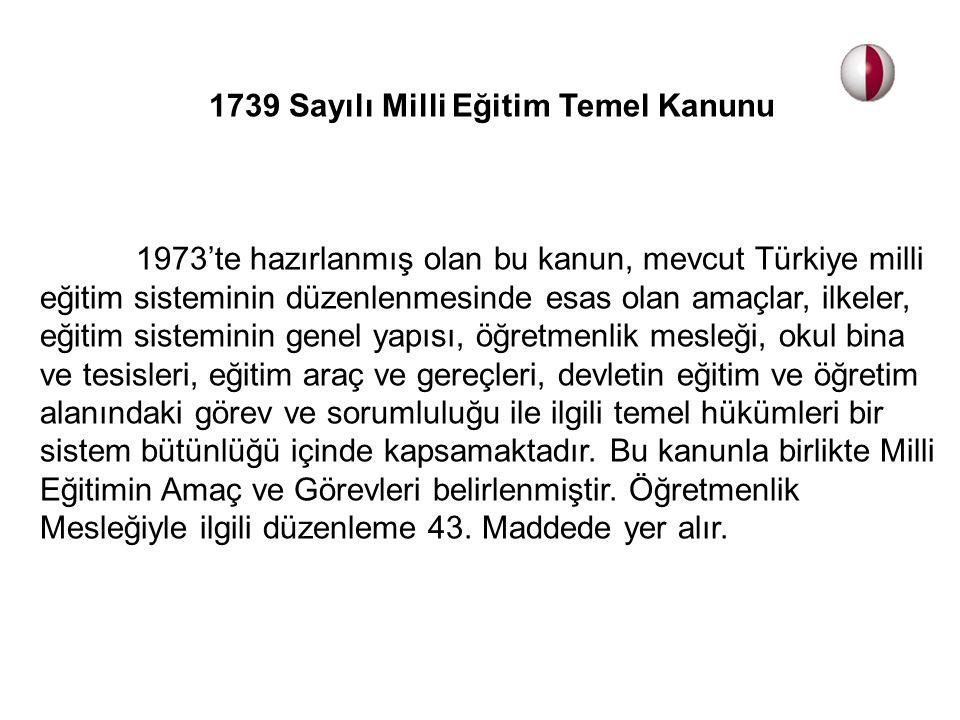 1739 Sayılı Milli Eğitim Temel Kanunu