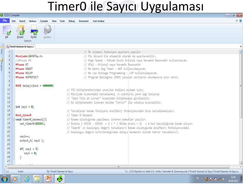 Timer0 ile Sayıcı Uygulaması