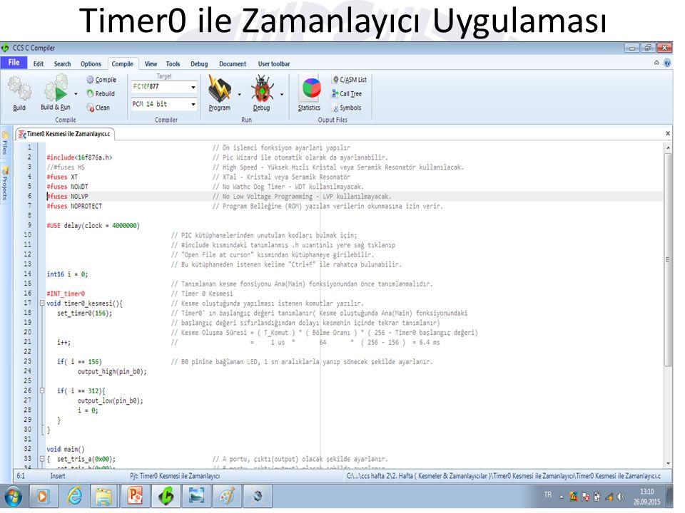 Timer0 ile Zamanlayıcı Uygulaması