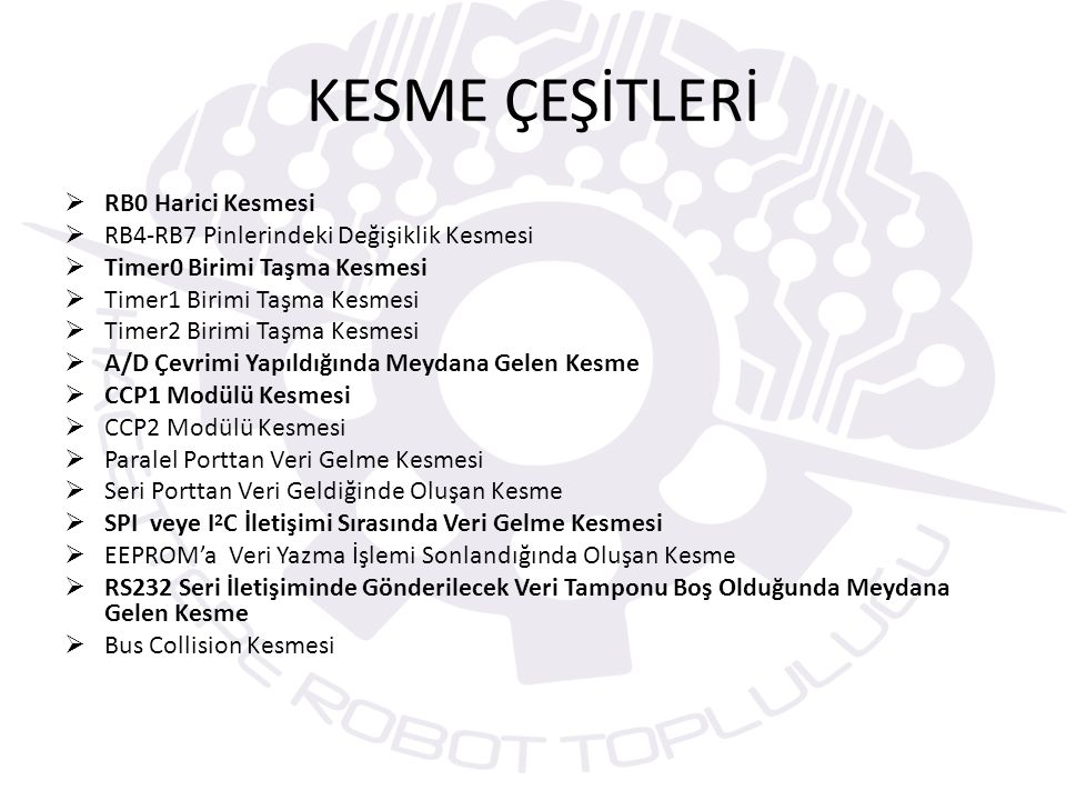 KESME ÇEŞİTLERİ RB0 Harici Kesmesi