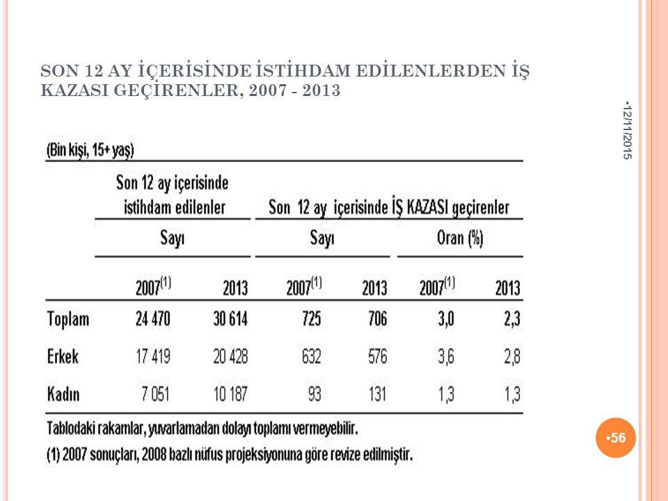 SON 12 AY İÇERİSİNDE İSTİHDAM EDİLENLERDEN İŞ KAZASI GEÇİRENLER, 2007 - 2013