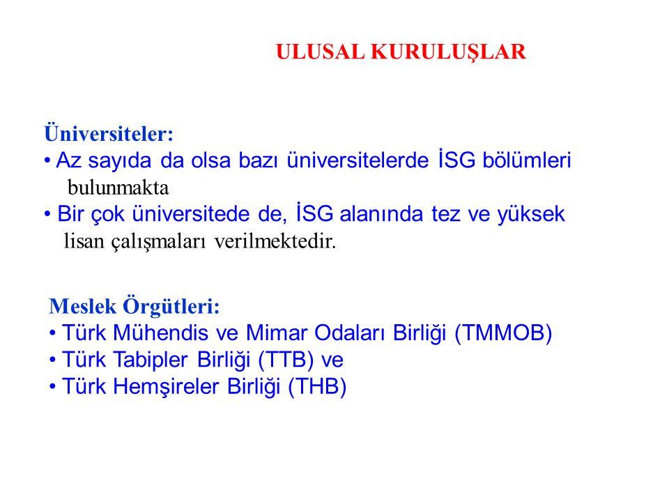 ULUSAL KURULUŞLAR Üniversiteler: • Az sayıda da olsa bazı üniversitelerde İSG bölümleri. bulunmakta.