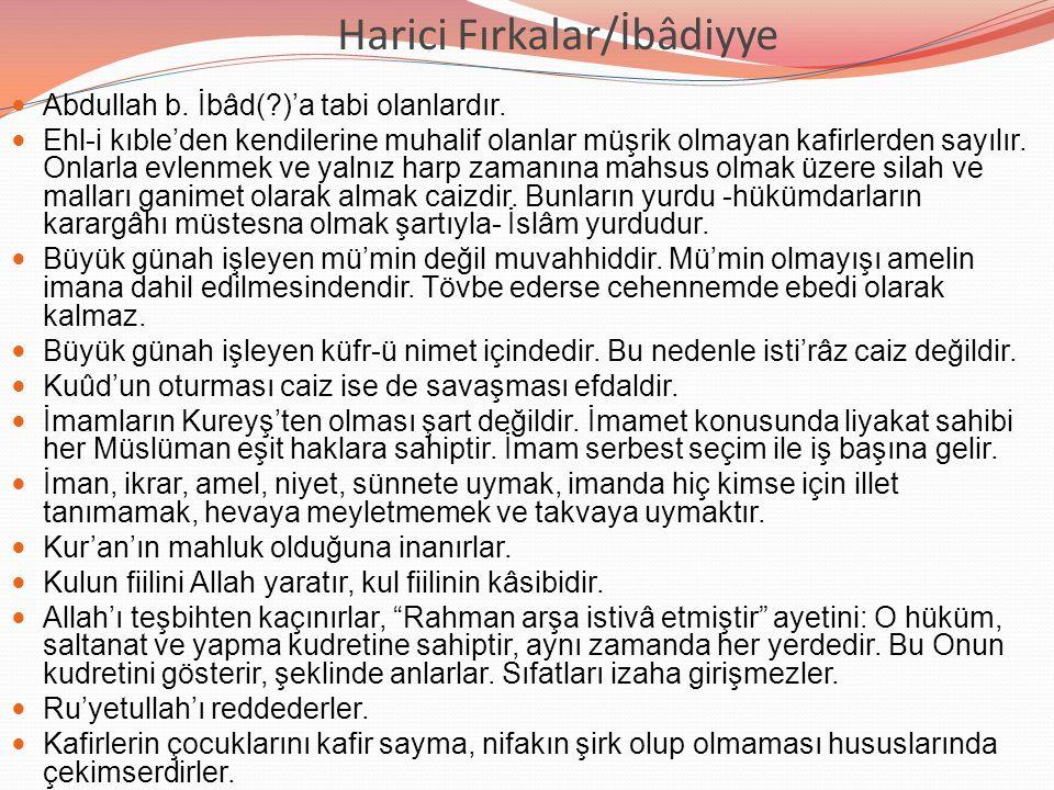 Harici Fırkalar/İbâdiyye