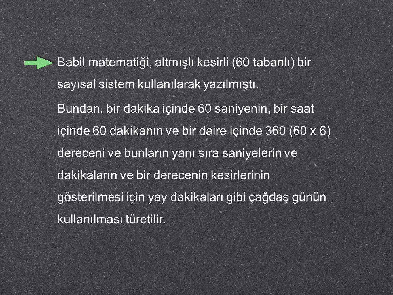 Babil matematiği, altmışlı kesirli (60 tabanlı) bir sayısal sistem kullanılarak yazılmıştı.