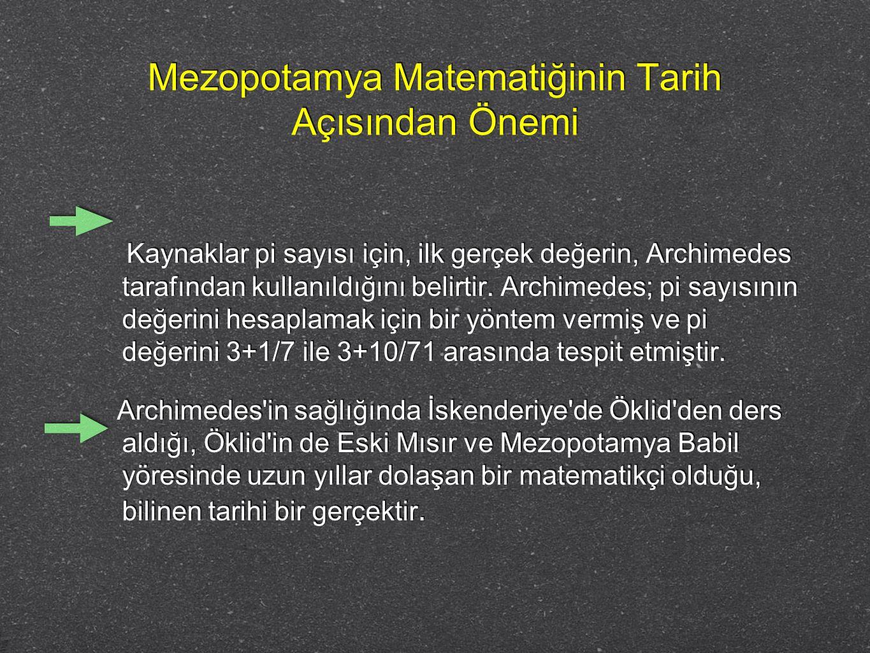 Mezopotamya Matematiğinin Tarih Açısından Önemi