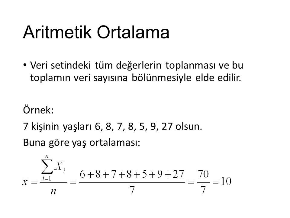 Aritmetik Ortalama Veri setindeki tüm değerlerin toplanması ve bu toplamın veri sayısına bölünmesiyle elde edilir.