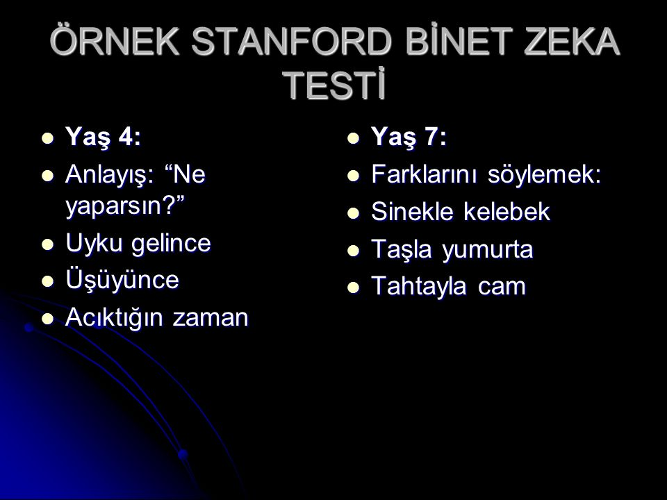 ÖRNEK STANFORD BİNET ZEKA TESTİ