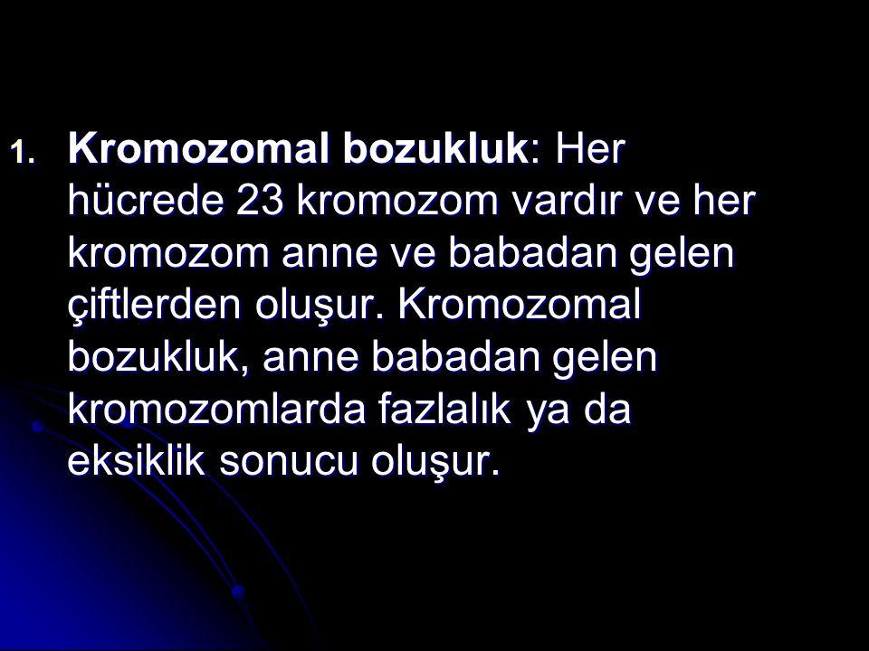 Kromozomal bozukluk: Her hücrede 23 kromozom vardır ve her kromozom anne ve babadan gelen çiftlerden oluşur.