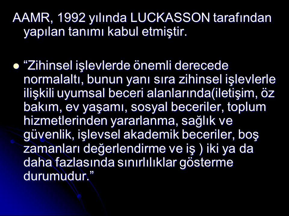 AAMR, 1992 yılında LUCKASSON tarafından yapılan tanımı kabul etmiştir.