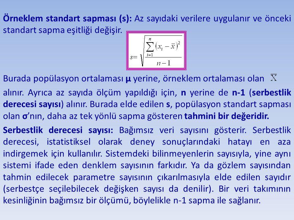 Örneklem standart sapması (s): Az sayıdaki verilere uygulanır ve önceki standart sapma eşitliği değişir.