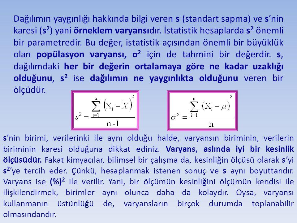 Dağılımın yaygınlığı hakkında bilgi veren s (standart sapma) ve s'nin karesi (s2) yani örneklem varyansıdır. İstatistik hesaplarda s2 önemli bir parametredir. Bu değer, istatistik açısından önemli bir büyüklük olan popülasyon varyansı, σ2 için de tahmini bir değerdir. s, dağılımdaki her bir değerin ortalamaya göre ne kadar uzaklığı olduğunu, s2 ise dağılımın ne yaygınlıkta olduğunu veren bir ölçüdür.