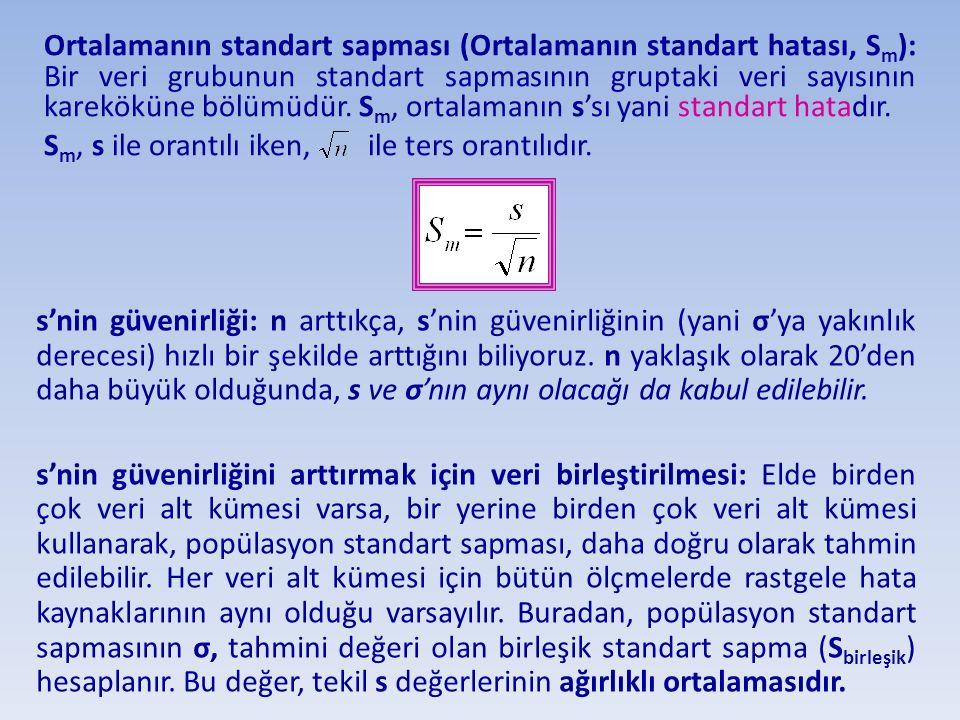Ortalamanın standart sapması (Ortalamanın standart hatası, Sm): Bir veri grubunun standart sapmasının gruptaki veri sayısının kareköküne bölümüdür. Sm, ortalamanın s'sı yani standart hatadır.