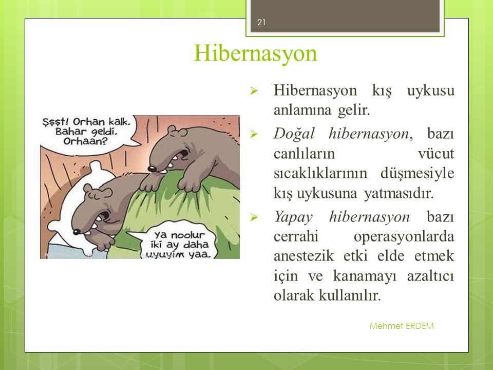 Hibernasyon Hibernasyon kış uykusu anlamına gelir.