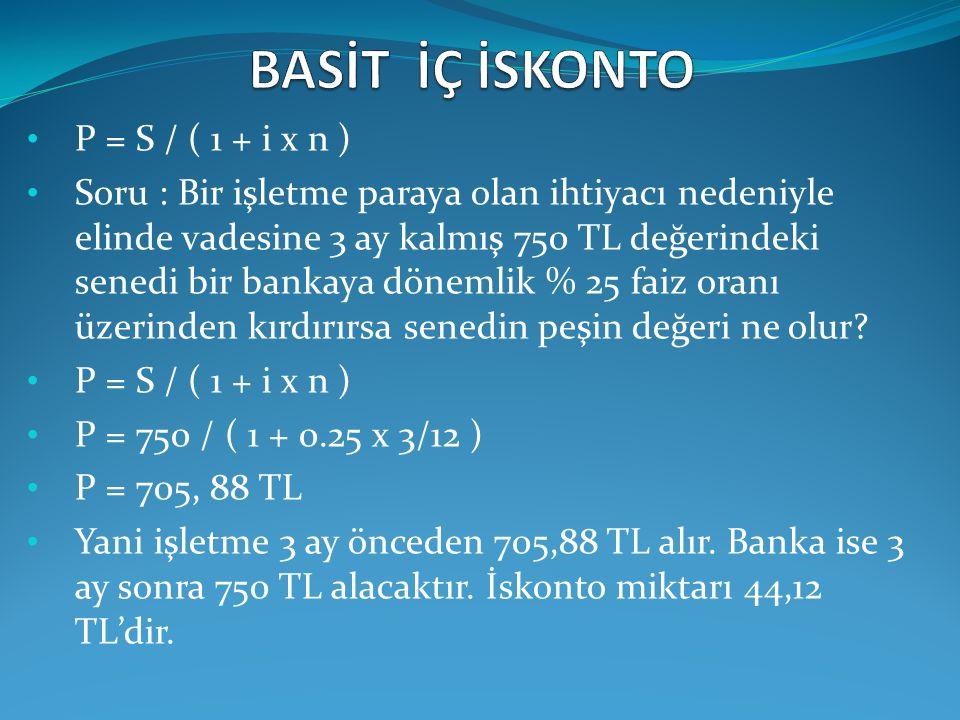BASİT İÇ İSKONTO P = S / ( 1 + i x n )