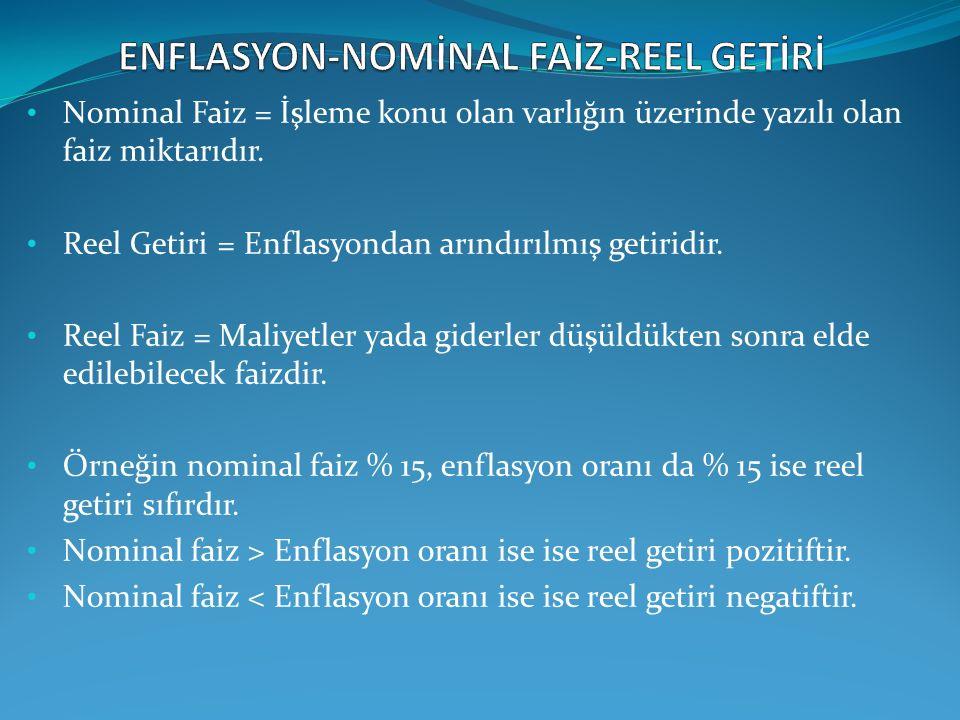 ENFLASYON-NOMİNAL FAİZ-REEL GETİRİ