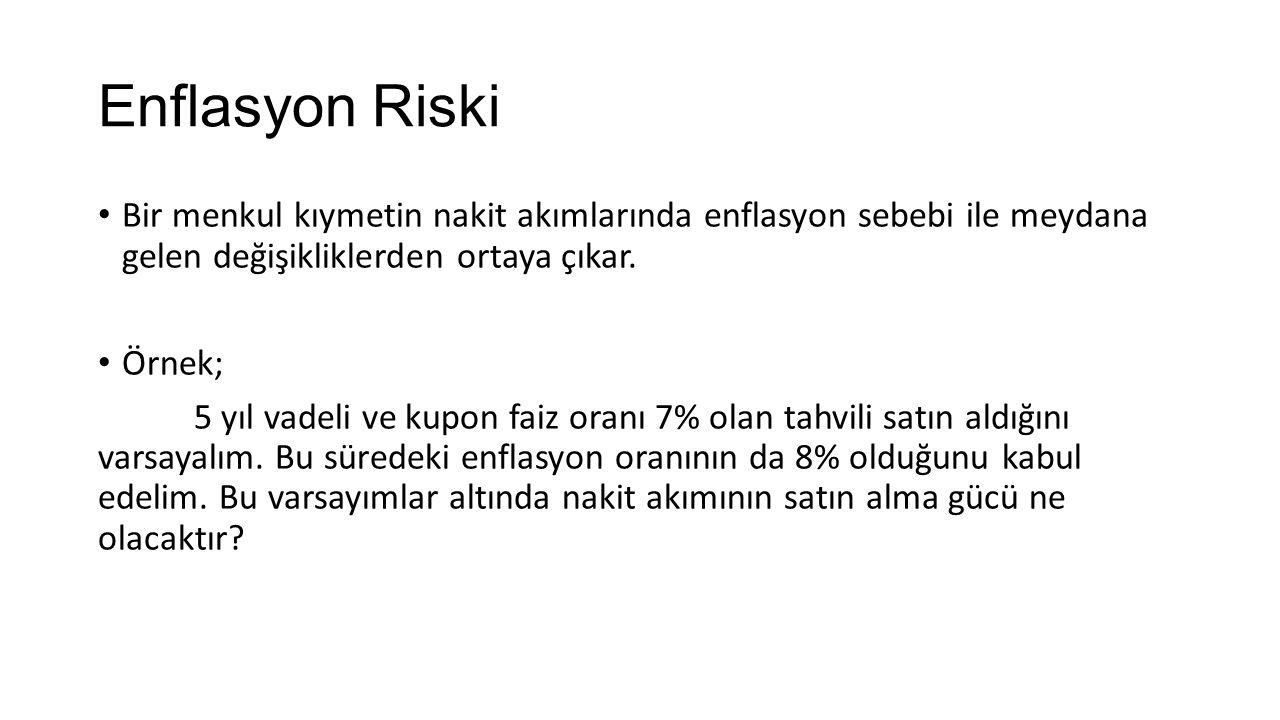 Enflasyon Riski Bir menkul kıymetin nakit akımlarında enflasyon sebebi ile meydana gelen değişikliklerden ortaya çıkar.