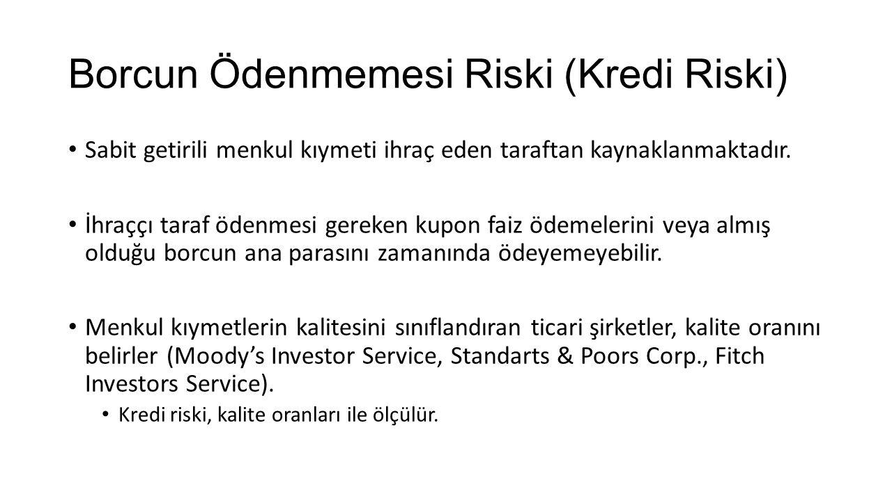 Borcun Ödenmemesi Riski (Kredi Riski)