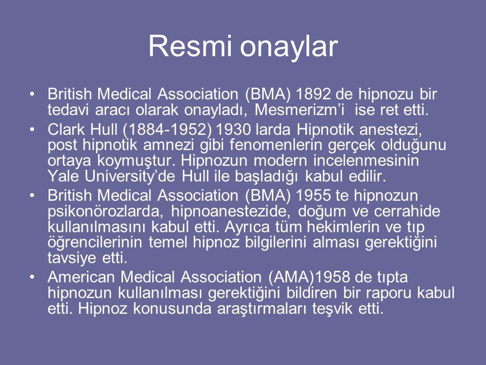 Resmi onaylar British Medical Association (BMA) 1892 de hipnozu bir tedavi aracı olarak onayladı, Mesmerizm'i ise ret etti.