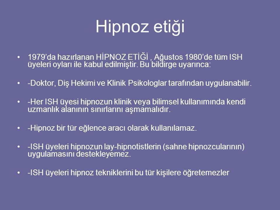 Hipnoz etiği 1979'da hazırlanan HİPNOZ ETİĞİ , Ağustos 1980'de tüm ISH üyeleri oyları ile kabul edilmiştir. Bu bildirge uyarınca: