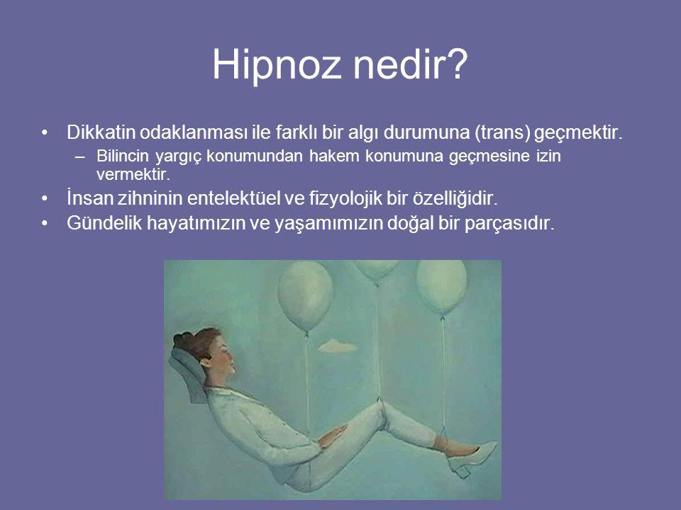 Hipnoz nedir Dikkatin odaklanması ile farklı bir algı durumuna (trans) geçmektir.