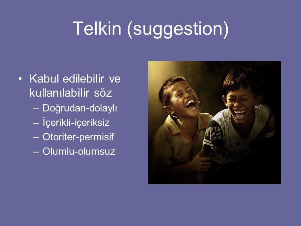 Telkin (suggestion) Kabul edilebilir ve kullanılabilir söz