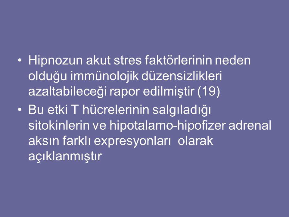Hipnozun akut stres faktörlerinin neden olduğu immünolojik düzensizlikleri azaltabileceği rapor edilmiştir (19)