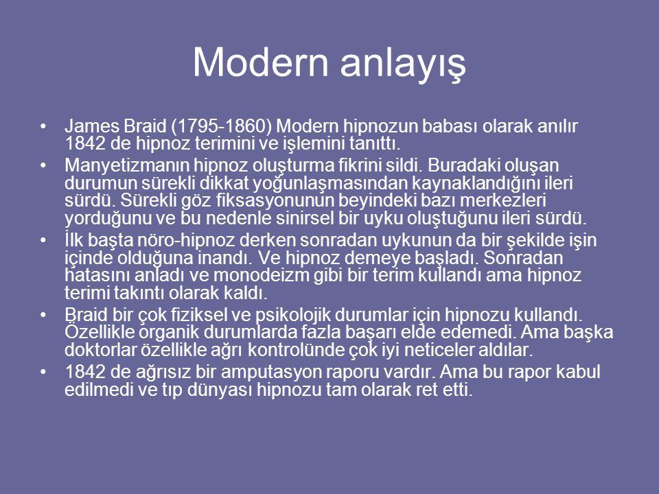 Modern anlayış James Braid (1795-1860) Modern hipnozun babası olarak anılır 1842 de hipnoz terimini ve işlemini tanıttı.