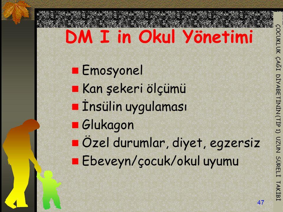 DM I in Okul Yönetimi Emosyonel Kan şekeri ölçümü İnsülin uygulaması