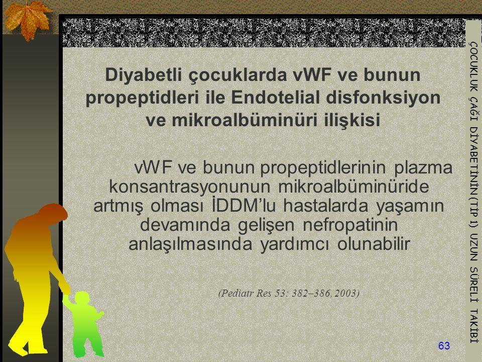 Diyabetli çocuklarda vWF ve bunun propeptidleri ile Endotelial disfonksiyon ve mikroalbüminüri ilişkisi
