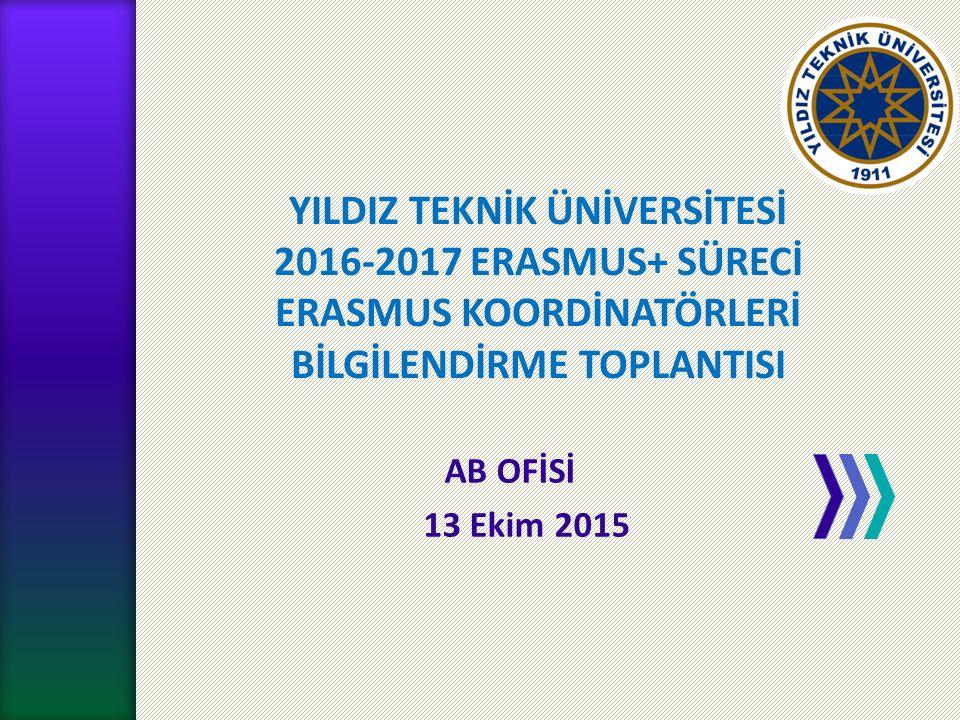 YILDIZ TEKNİK ÜNİVERSİTESİ 2016-2017 ERASMUS+ SÜRECİ ERASMUS KOORDİNATÖRLERİ BİLGİLENDİRME TOPLANTISI