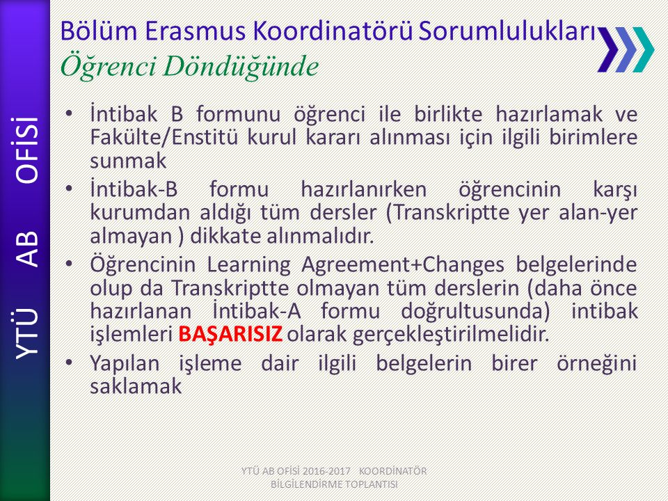 Bölüm Erasmus Koordinatörü Sorumlulukları Öğrenci Döndüğünde
