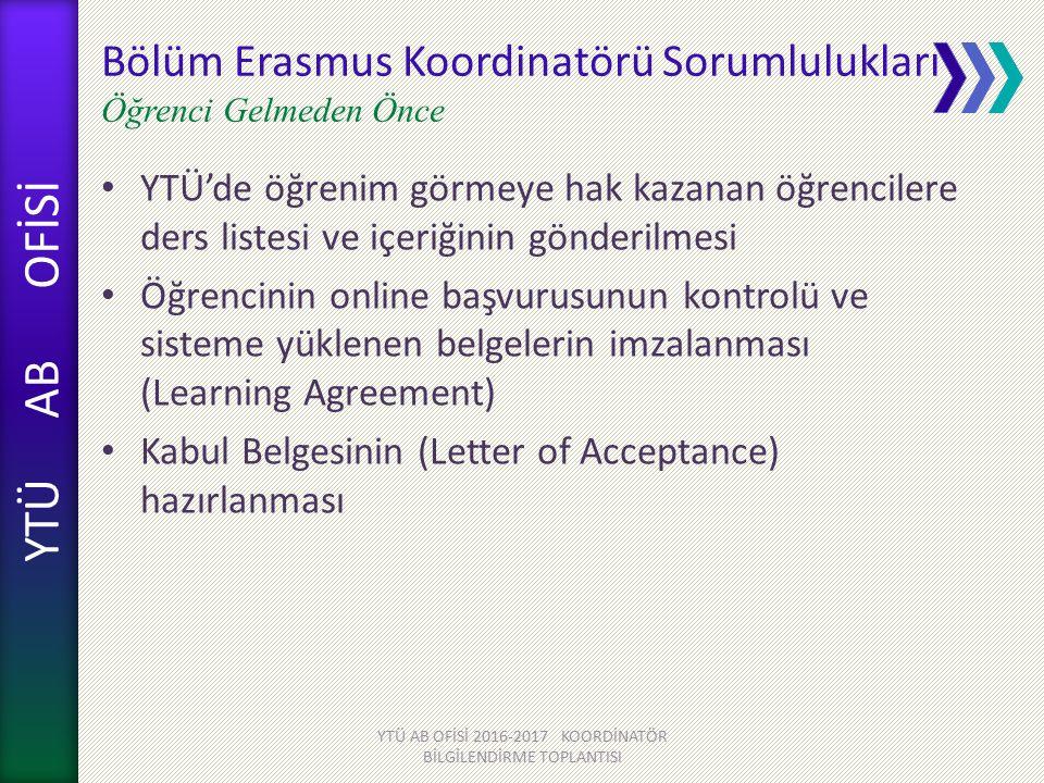 Bölüm Erasmus Koordinatörü Sorumlulukları Öğrenci Gelmeden Önce