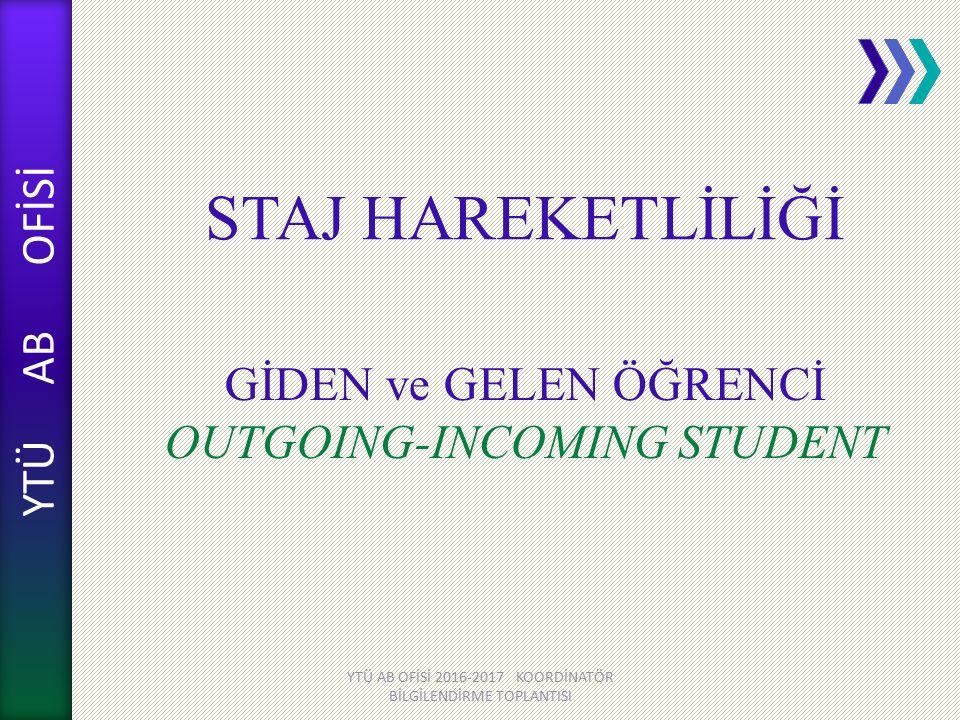 GİDEN ve GELEN ÖĞRENCİ OUTGOING-INCOMING STUDENT