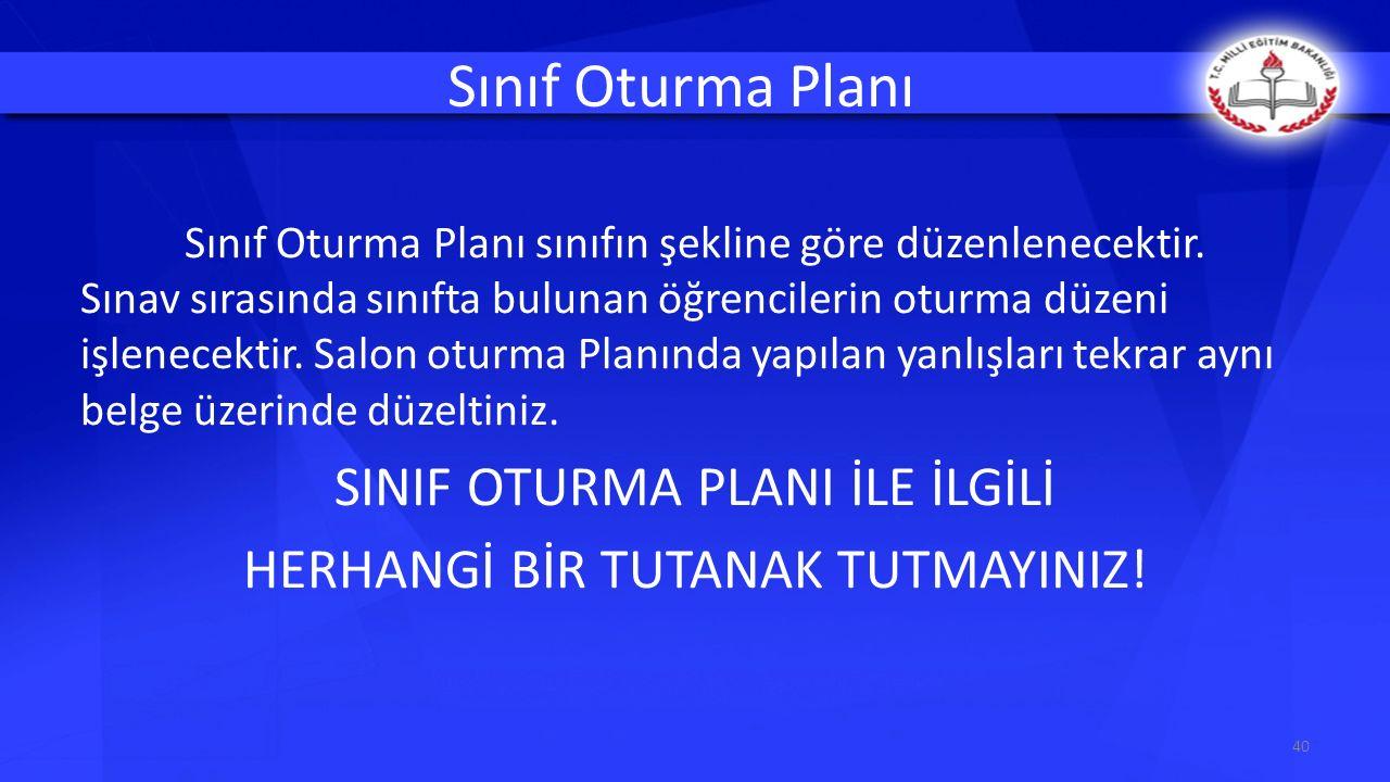 Sınıf Oturma Planı SINIF OTURMA PLANI İLE İLGİLİ