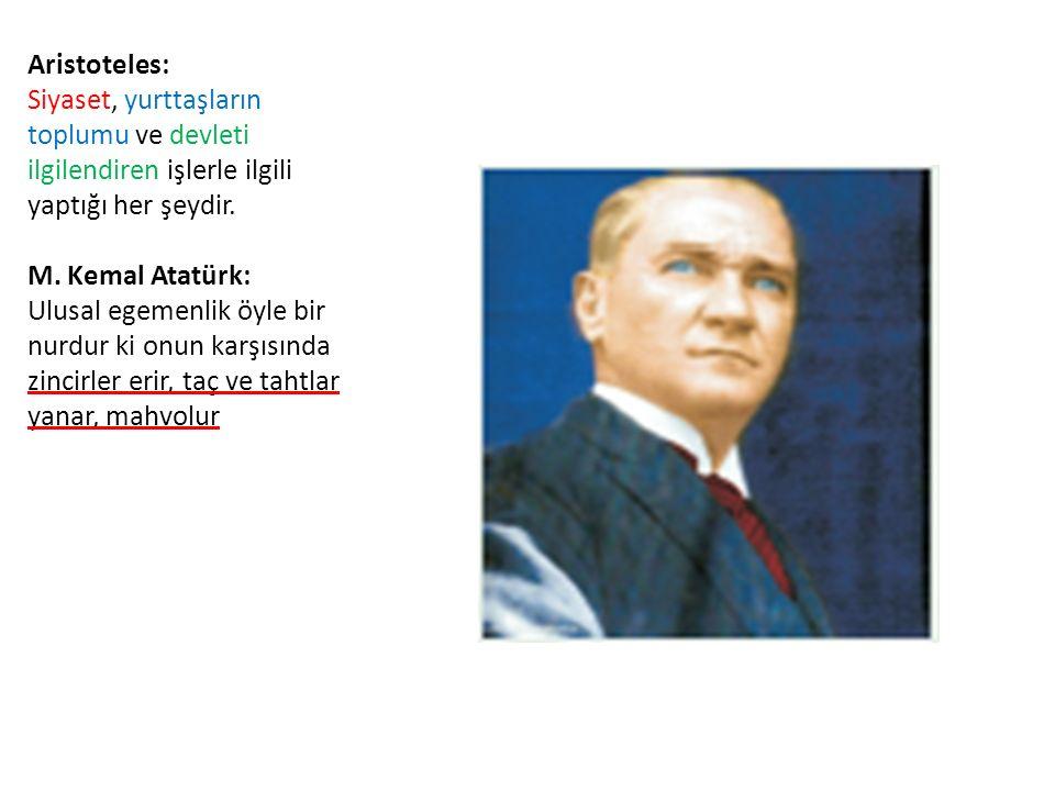 Aristoteles: Siyaset, yurttaşların toplumu ve devleti ilgilendiren işlerle ilgili yaptığı her şeydir.