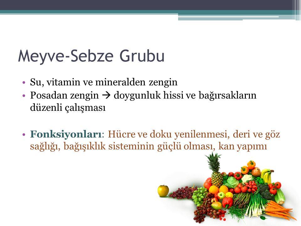 Meyve-Sebze Grubu Su, vitamin ve mineralden zengin