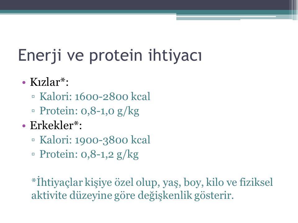 Enerji ve protein ihtiyacı