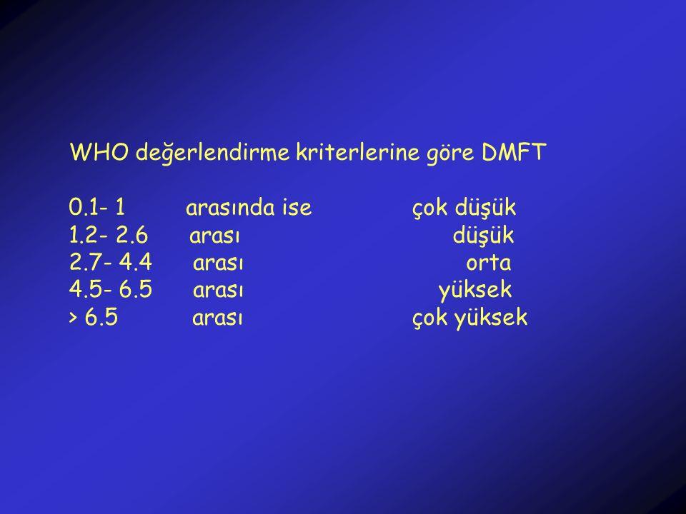 WHO değerlendirme kriterlerine göre DMFT