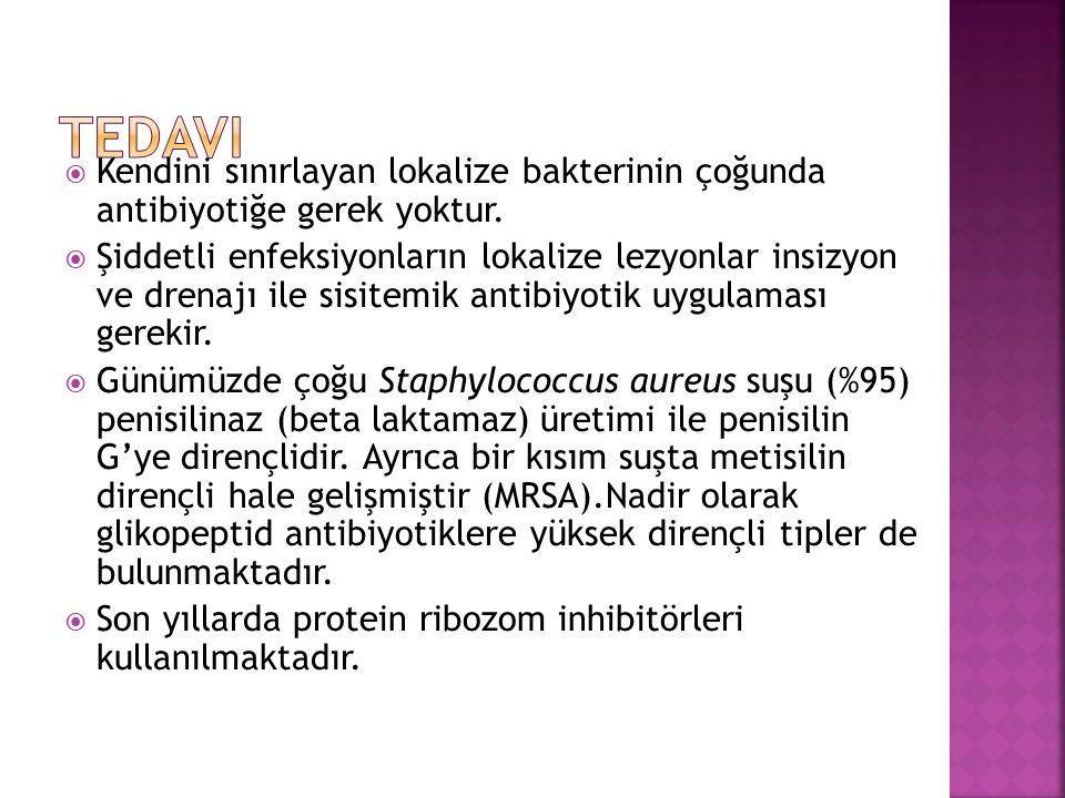 Tedavi Kendini sınırlayan lokalize bakterinin çoğunda antibiyotiğe gerek yoktur.