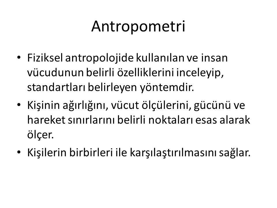 Antropometri Fiziksel antropolojide kullanılan ve insan vücudunun belirli özelliklerini inceleyip, standartları belirleyen yöntemdir.