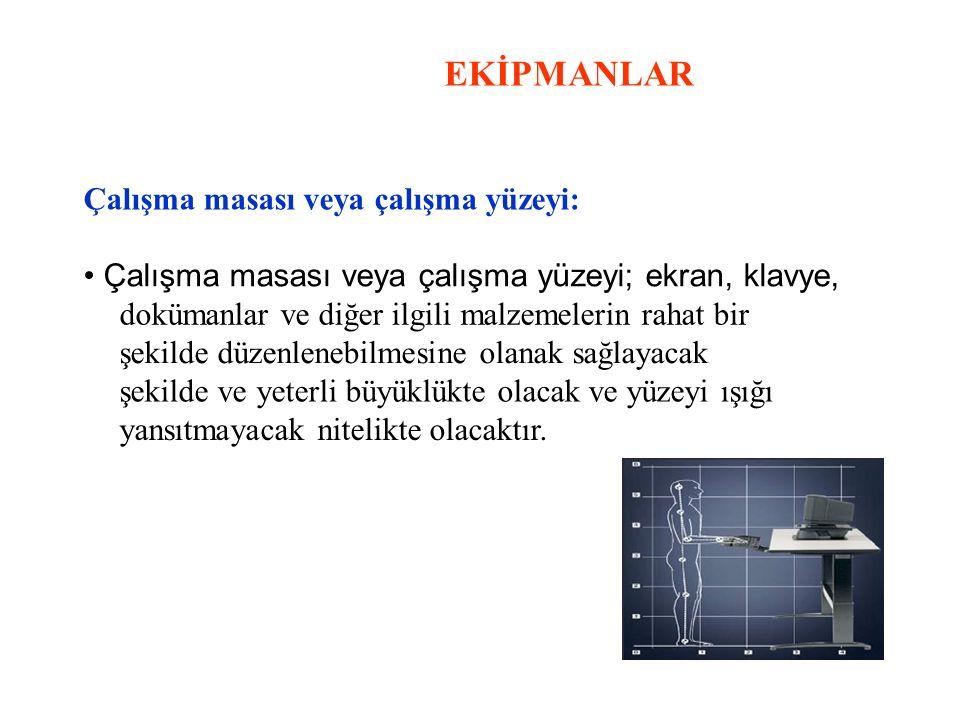 EKİPMANLAR Çalışma masası veya çalışma yüzeyi: