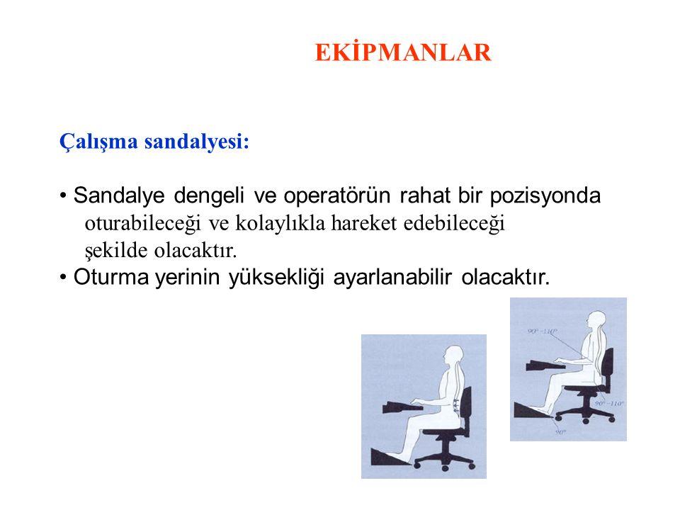 EKİPMANLAR Çalışma sandalyesi: