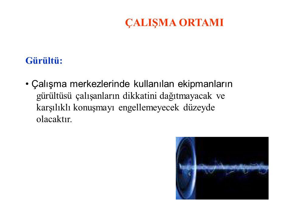 ÇALIŞMA ORTAMI Gürültü: