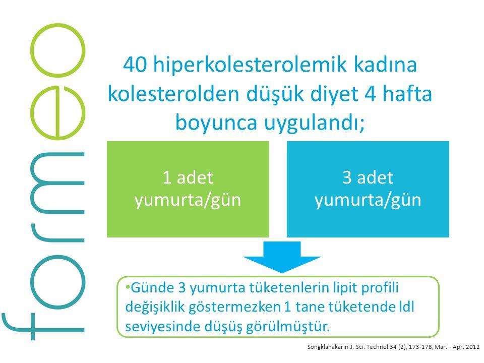 40 hiperkolesterolemik kadına kolesterolden düşük diyet 4 hafta boyunca uygulandı;